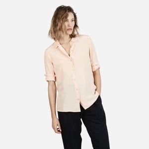 EVERLANE • Silk Blush Pink Round Collar Top